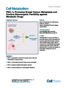 PGC-1a Promotes Breast Cancer Metastasis and ...