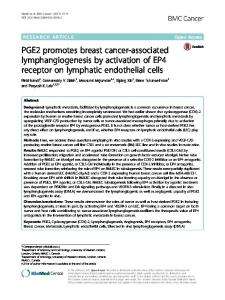 PGE2 promotes breast cancer-associated lymphangiogenesis ... - Core