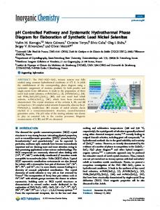 pH Controlled Pathway and Systematic ... - ACS Publications