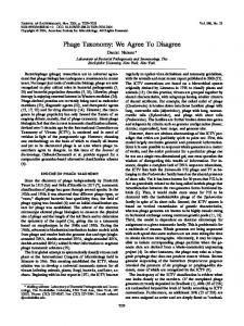 Phage Taxonomy: We Agree To Disagree - Journal of Bacteriology