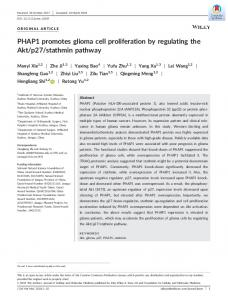 PHAP1 promotes glioma cell proliferation by ... - Wiley Online Library