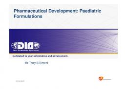 Pharmaceutical Development: Paediatric Formulations - Drug ...