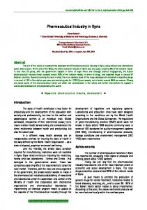 Pharmaceutical Industry in Syria - ScienceOpen