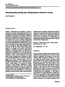 Pharmaceutical pricing and reimbursement reforms in Greece
