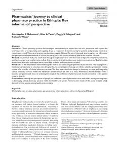 Pharmacists' journey to clinical pharmacy practice in ... - SAGE Journals