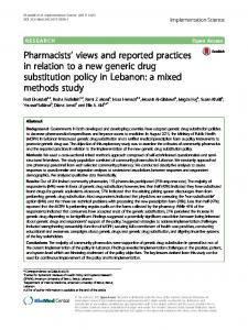Pharmacists' views and reported practices in relation to ... - Springer Link