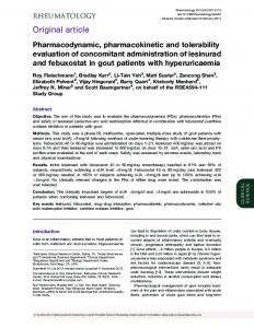Pharmacodynamic, pharmacokinetic and tolerability evaluation of ...