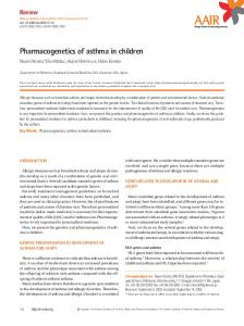 Pharmacogenetics of asthma in children - Allergy, Asthma