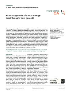Pharmacogenetics of cancer therapy: breakthroughs ... - Future Science