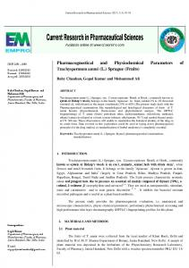 Pharmacognostical and Physiochemical Parameters of ...