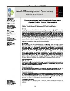 Pharmacognostical and phytochemical analysis of