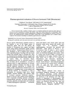 Pharmacognostical evaluation of Drosera burmannii ... - NOPR - niscair