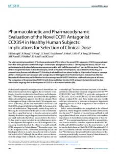 Pharmacokinetic and Pharmacodynamic Evaluation of the Novel ...