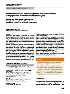Pharmacokinetic and Pharmacodynamic Interaction Between ...