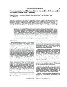 Pharmacokinetics and Pharmacokinetic Variability of Heroin and its ...