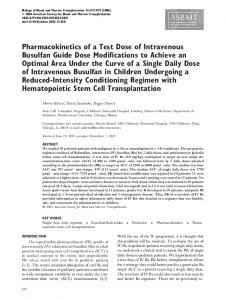 Pharmacokinetics of a Test Dose of Intravenous Busulfan Guide Dose ...