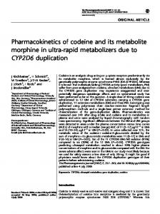Pharmacokinetics of codeine and its metabolite morphine in ... - Nature