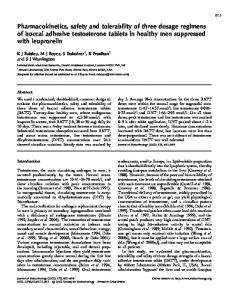 Pharmacokinetics, safety and tolerability of three dosage regimens of ...