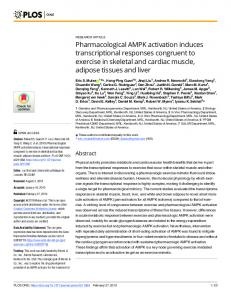Pharmacological AMPK activation induces transcriptional ... - PLOS