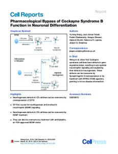 Pharmacological Bypass of Cockayne Syndrome B Function - Cell Press