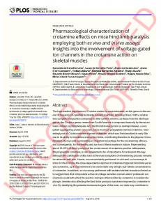 Pharmacological characterization of crotamine effects on mice ... - Plos