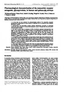 Pharmacological characterization of the muscarinic receptor ...