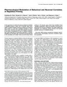 Pharmacological Modulation of Behavioral and ... - Semantic Scholar