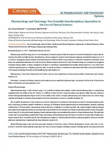 Pharmacology and Toxicology - ECronicon