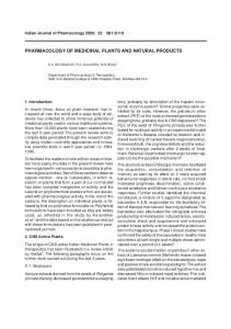 pharmacology of medicinal plants and natural products - HHCRO