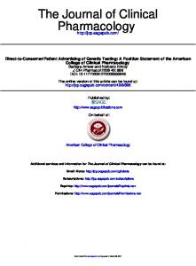 Pharmacology The Journal of Clinical - American College of Clinical ...