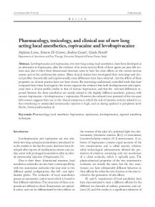 Pharmacology, toxicology, and clinical use of new long acting local ...