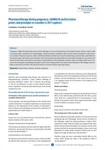 Pharmacotherapy during pregnancy, childbirth and lactation: points ...