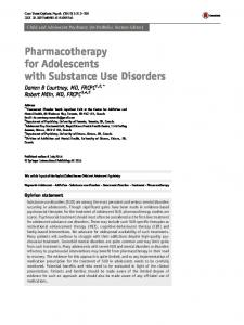 Pharmacotherapy for Adolescents with Substance Use Disorders ...