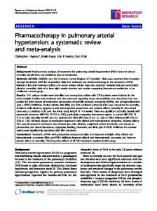 Pharmacotherapy in pulmonary arterial hypertension - Semantic Scholar
