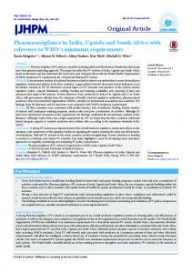 Pharmacovigilance in India, Uganda and South Africa with reference ...
