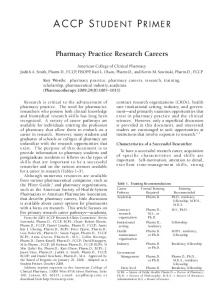 Pharmacy Practice Research Careers - ACCP