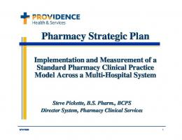 Pharmacy Strategic Plan Pharmacy Strategic Plan