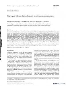 Pharyngeal Chlamydia trachomatis is not ... - Semantic Scholar