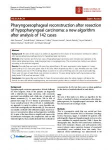 Pharyngoesophageal reconstruction after