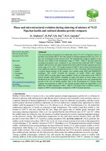 Phase and microstructural evolution during sintering of mixture of 75 ...