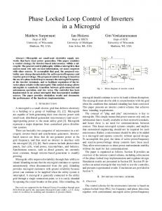 Phase Locked Loop Control of Inverters in a ... - EECS @ Michigan