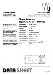 Phase Sequence Signalling Relay - BRP0103 - Midland Jay
