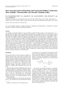 Phase Solubility, Thermodynamics and Molecular - Springer Link
