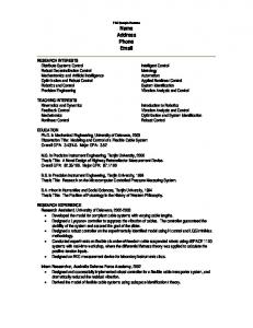 PhD Sample Resume