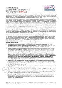 PhD Studentship Guidance Notes for Applicants 2013 SAMPLE ONLY