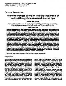 Phenolic changes during in vitro organogenesis of ...