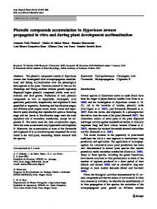 Phenolic compounds accumulation in Hypericum ... - Springer Link
