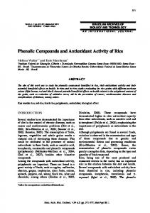 Phenolic Compounds and Antioxidant Activity of Rice - SciELO