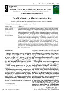 Phenolic substances in Ailanthus glandulosa Desf