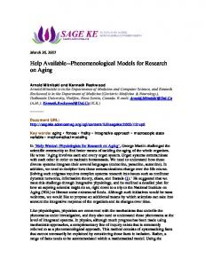 Phenomenological Models for Research on Aging - Semantic Scholar